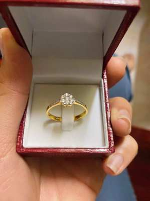 Diamond ring Belgium Belgium water 27 27 gold, 18K gold, 2.65g, size 58, no certificate