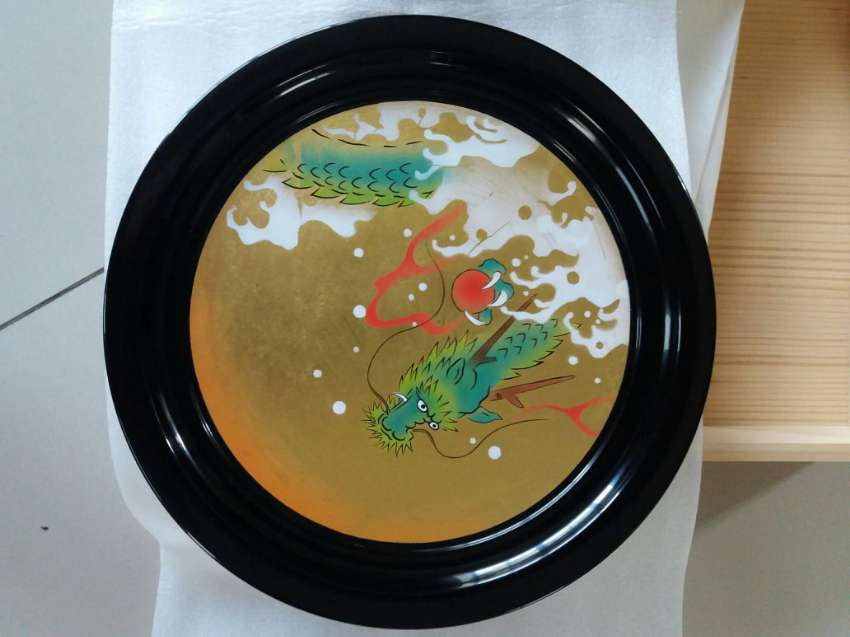 NEW YEAR SALE! Zohiko Gold Leaf Dragon Decoration Plate One of a Kind