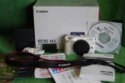 Canon EOS M3 24.2MP Wi-Fi Camera White body in Box