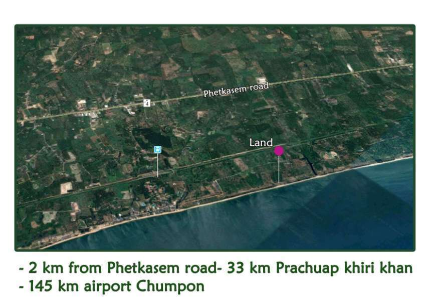 Land 7 rai for sale on the beach in Thap Sakae