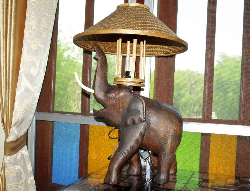 Large Thai Craft Elephant Standing Table Lamp Newly Carved/Made.