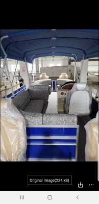 Aluminum pontoon boat for rent.