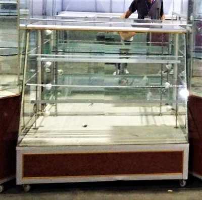 Long LED 3 step adjustable glass & wood office showcase furniture
