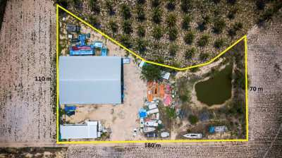 Land with warehouse for sale 4.5 rai for only 8,900,000 THB