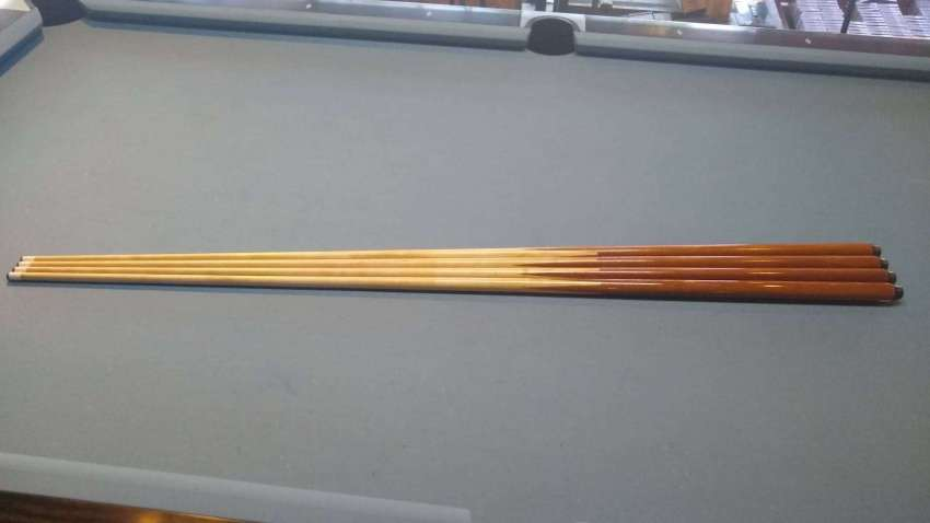 SET OF 4 WOODEN POOL HOUSE CUES FOR YOUR POOL TABLE