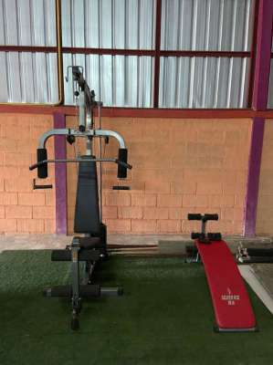 Multi gym  bench for sit ups dumbbells and weights buyer collects
