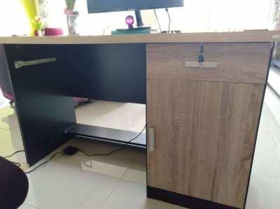 Wood Office desk & Elliptical Bike