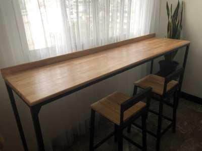 โต๊ะบาร์+เก้าอี้ ไม้ยางพารา