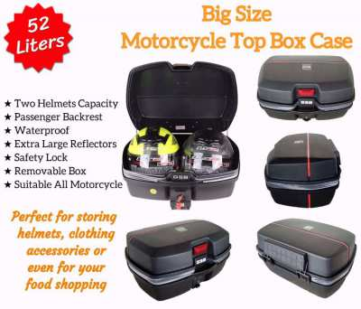 Two helmets capacity 52 Liters Motorcycle Top Box Case