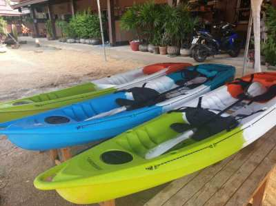 3 Brand New Feel Free Roamer 2 two seater Kayaks with paddle oars.