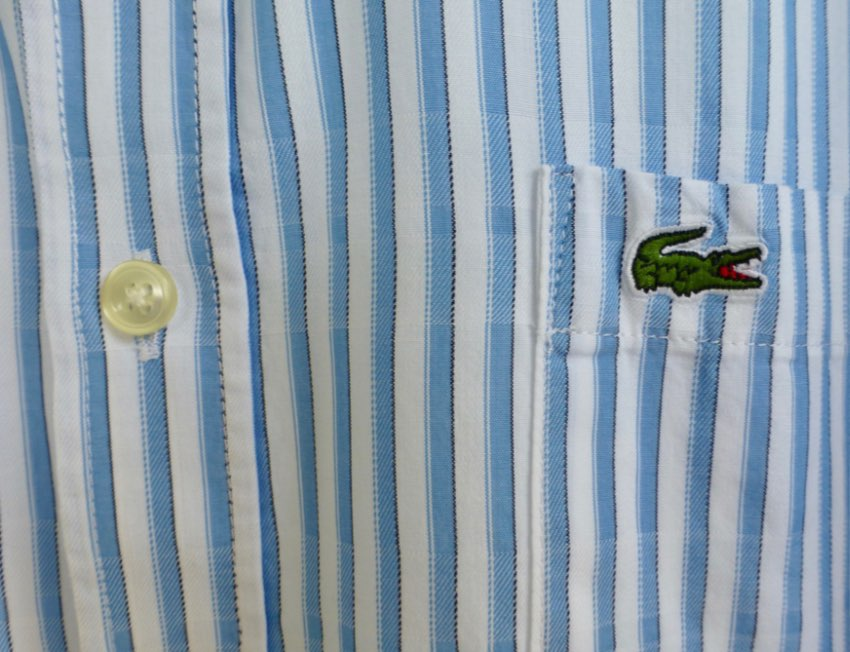 LOVELY GENUINE LACOSTE STRIPED SHIRT..... M