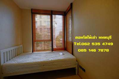 Condo 2 Bdrs for rent at Sanambinnam Rd.,Nonthaburi free shuttle bus.