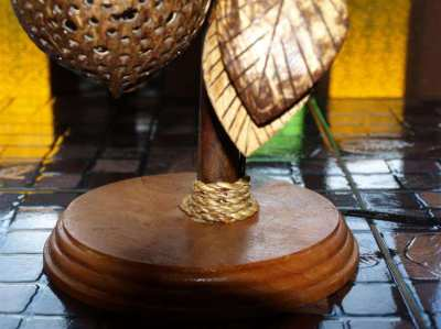 Unique Hand Made Coconut Wood Table Lamp Thai Craft.
