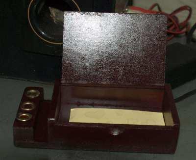 Thai Hand Craft Note pad & Pen Holder Wood Box Silver/Elephant Design