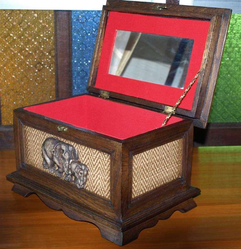 Thai Hand Craft Wood Box & Mirror Weaved Bamboo Panels.