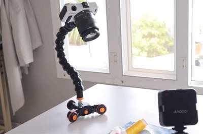 Motorized camera dolly, a goose neck stick and a mini ballhead 3pcs