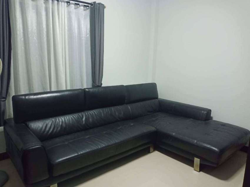 Leather Sofa in  Black