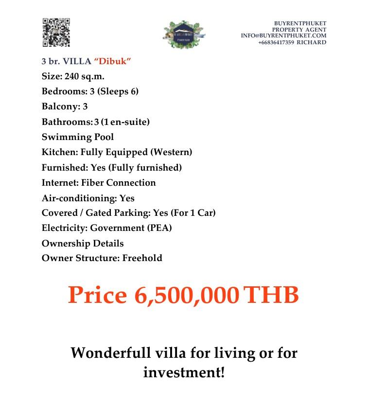 Dibuk House For Sale Located in Nai Harn, Rawai, Phuket.