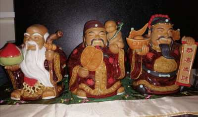 Chinese statue pottery 3 pieces Fu Lu Shou