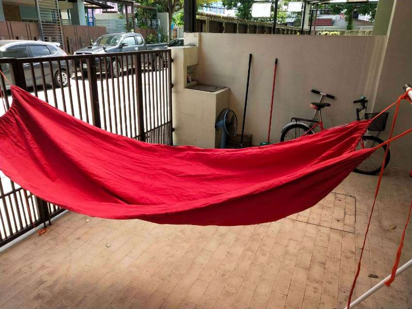 2 Hammocks - Red Thick Cotton & Nylon Travel Versions
