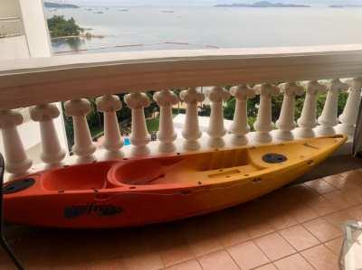 Kayak with 2 hp Yamaha outboard