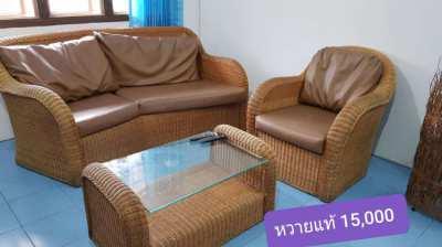 sofa set - rattan brown