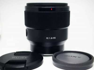 Sony FE 85mm f/1.8 Full Frame SEL85F18 Portrait Lens in box.