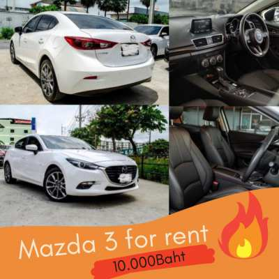 For rent Mazda 3, 2.0L  Automatic , 10.000 THB Monthly