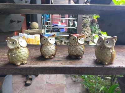 Cute Ceramic Owl Family