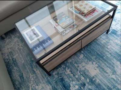 Custom Center Table with Glass and Drawers