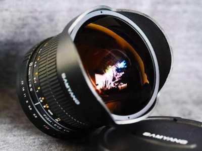 Samyang 8mm for Canon f3.5, Nikon T3.8 VDSLR UMC Fish-eye CS Fisheye
