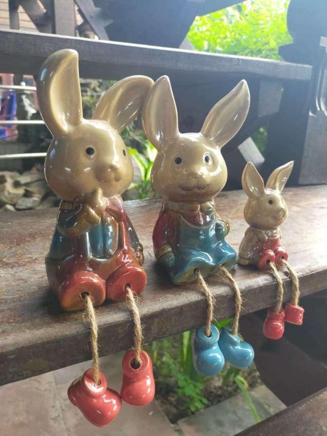 Set Of 3 Atlas Chests & Cute Ceramic Rabbit Family