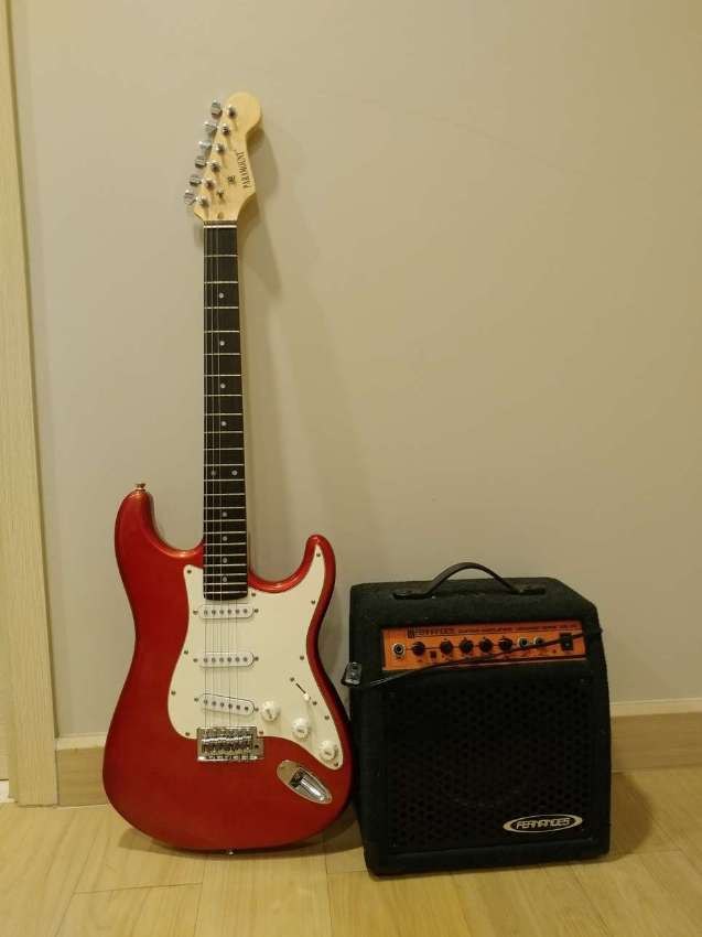 Electric Guitar + Electric Guitar Amplifier + Electric Guitar Case
