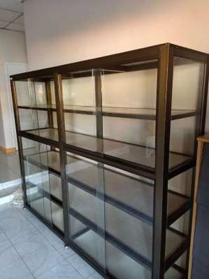 Large display case with glass sliding doors