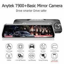 Anytek T900 + 9.66 Inch Rearview Mirror 1080P Front Camera DVR + 1080P