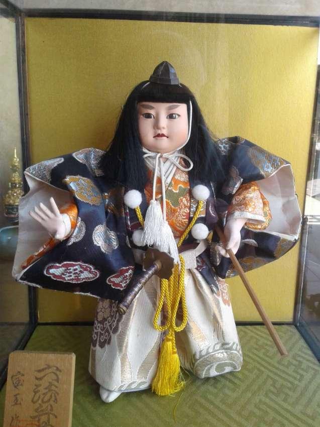 Samarai Doll in Glass Vitrine.