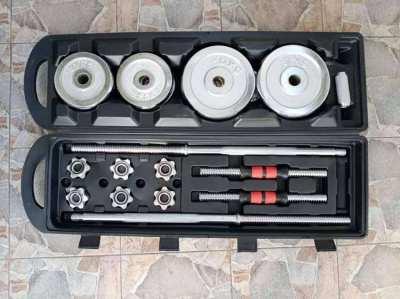 50 kg chrome barbell and dumbbell set