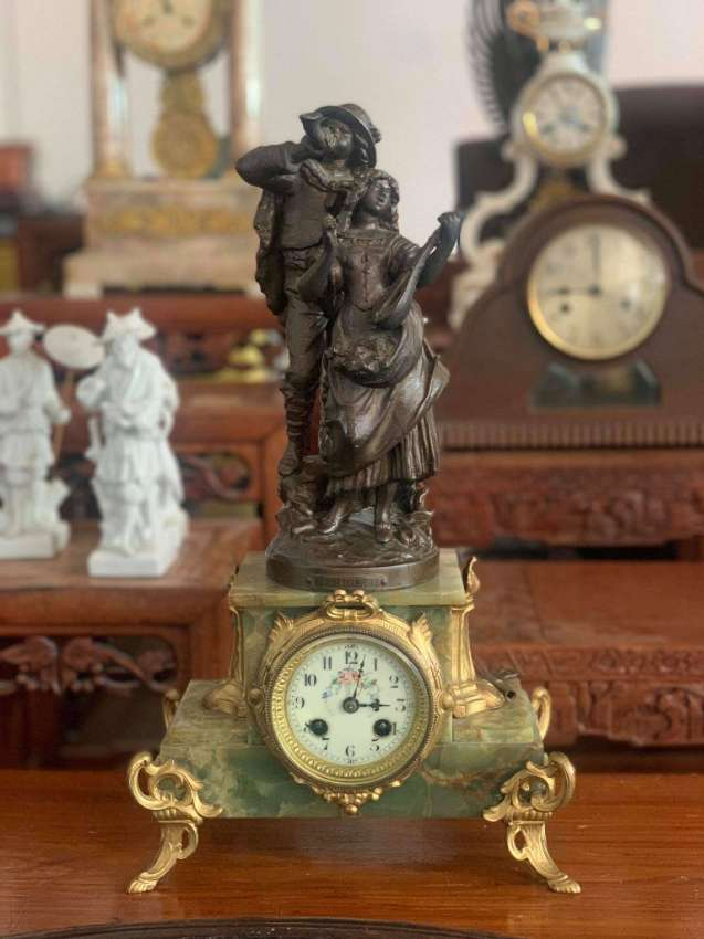 Antique French samac & green marble clock