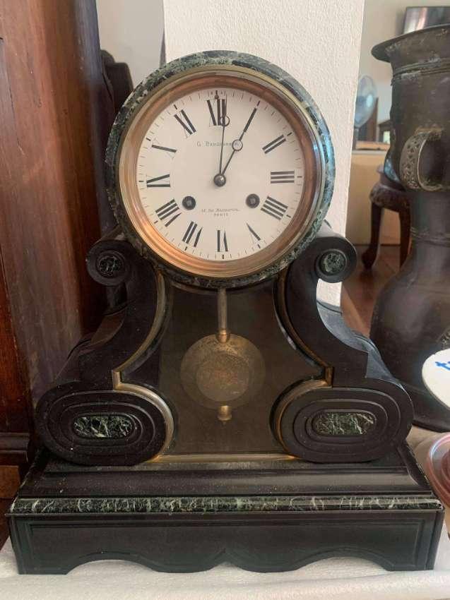 Antique black marble clock