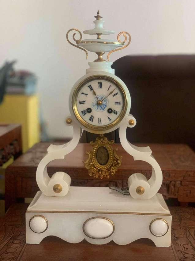 Antique French white alabaster clock