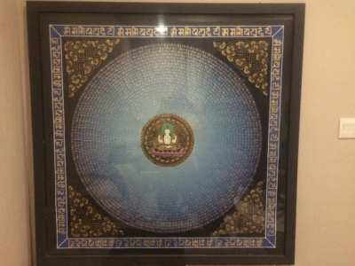 Nepalese Thangka 1m x 1m Buddha of Compassion, Framed