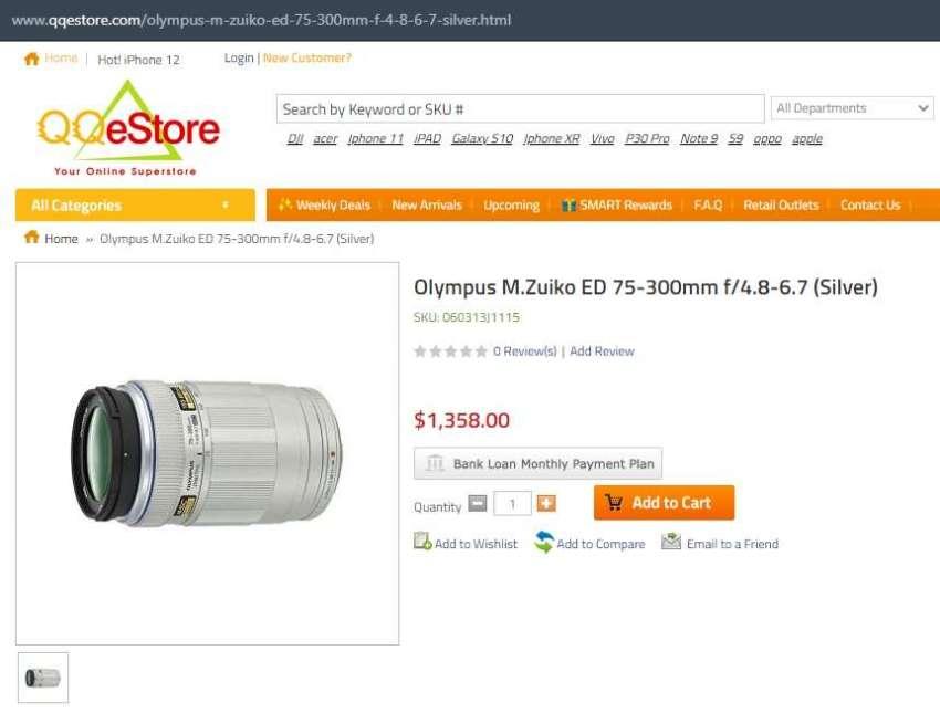 Olympus M.Zuiko 75-300mm (150-600mm) MSC Telephoto Lens Silver