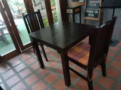 Set of Wooden TABLE with 4 or 2 (Free 1 cushion each chair)