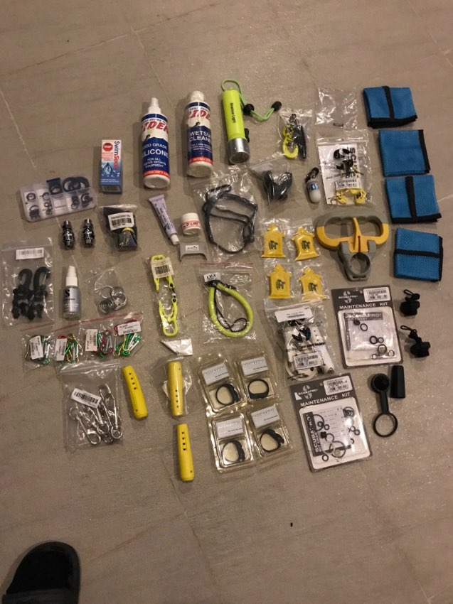 Various scuba diving accessories and spare parts
