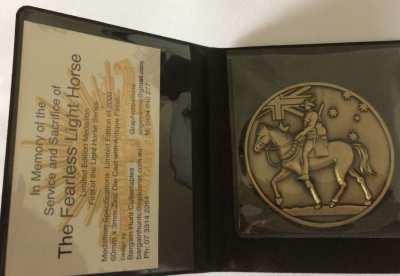 Australian Light Horse Medallion  - Size: 60mm x 3mm -