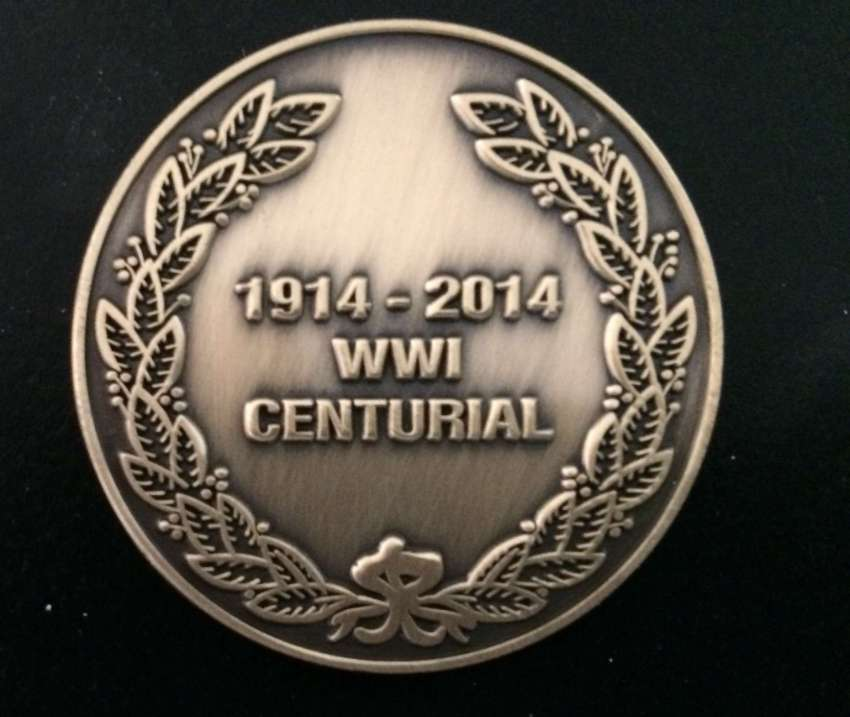 1914-2014 Medal 100 Years Since the End of WWI - Size: 36mm x 3mm