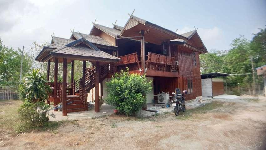 #3158  1 rai with 2 houses: Stunning golden teak house