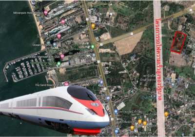 Land for sale next to the high-speed train rail connecting 3 airport