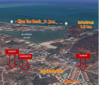 2+ rai plot 500 meters to Khao Tao lake and 1.4KM to Sai Noi Beach