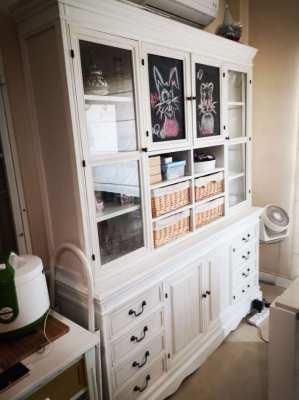 Beautiful Kitchen Dining White Side Dresser Display cabinet
